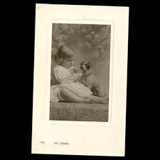 """Charming Real Photo Post Card """" Say Please """"  Little Girl and Puppy Dog Bamford & Co."""