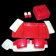 Federal Tool Corp Chicago USA Space Age Plastic Sugar Shaker Creamer Divided Tray Covered Dish