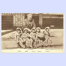 Vintage Post Card DIONNE QUINTUPLETS and Dr. Dafoe Postage stamp dating to 1936