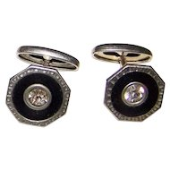 Deco Era  Black  Celluloid And Clear Faceted Rhinestone Cuff Links