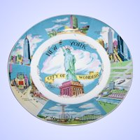"Collectible Vintage Souvenir Memento Plate "" NEW YORK"" City Of Wonders"