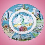 "Collectible Vintage Souvenir Memento Plate "" NEW YORK"" City Of Wonders"