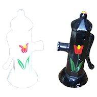 Charming Set Novelty  Cast Metal Fire Hydrant Salt & Pepper Shakers