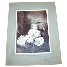A Charming Sweet Vintage Photograph  Photo Cabinet Card of Little Girl  Child in Wicker  Pram