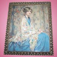 Vintage Framed Alice Blue Gown Print Wall Art
