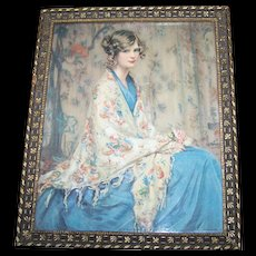 Vintage Framed Alice Blue Gown Print Wall Art