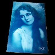 Hauntingly Beautiful Vintage Postcard Portrait of a Pretty Lady Charlie Chaplin Era