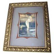 Lovely Vintage Framed Erotic Nude Lady in Water  Postcard  Home Decor Wall Art