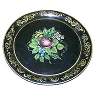 Small Decorative Vintage Toleware Hand Painted Floral Black Tin Metal Ware Tray