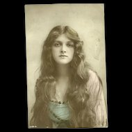 Beautiful Lady with Long Hair  Portrait Real Photo Hand Tinted Post Card BRITISH BEAUTY