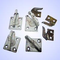 A Group of Solid Brass Metal Ware Window Latches  4  and  3 Keepers with Paint