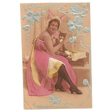 Art Nouveau Era  Post Card Lady Dressed in Costume Holding Her Pussy Cat Simply Charming
