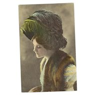Color  Photograph Post Card Famous Actress Miss Edna May in  Beautiful Feathered Hat