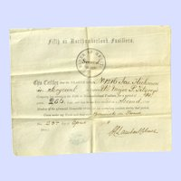 Original fifth or Northumberland fusiliers Parchment Style Order of Merit 1878