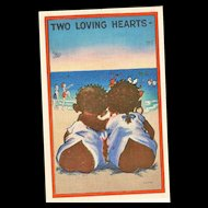 Black Americana Linen Style Post Card Two Loving Hearts Ashville Post Card Company
