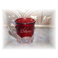 Small Souvenir Flash Ruby Glass Mug Shores  Lampkin
