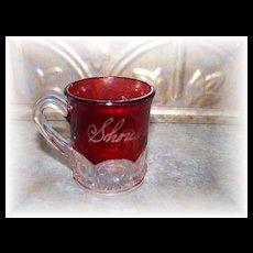 Small Souvenir Flash Ruby Glass Mug Shores  Lampkin