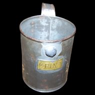 Vintage Aluminum Tin 1/2 Pint Measure Measuring Cup