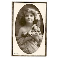 "Charming Real Photograph Postcard Post Card Lovely Young Girl Flowers "" Beauty """