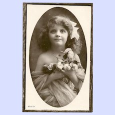 """Charming Real Photograph Postcard Post Card Lovely Young Girl Flowers """" Beauty """""""