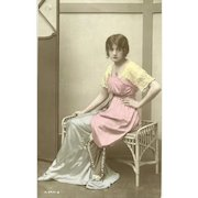 "Charming Real Tinted Photograph Post Card Postcard ""  British Beauty """