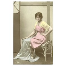 "Charming Real Tinted Photograph Post Card Postcard ""  British Beauty """