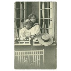 Charming Real Photograph Postcard Post Card Little Children Printed in Germany