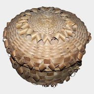 A Special Vintage  First Nations Crafted  Mi'kmaq Woven Lidded Sewing  Basket