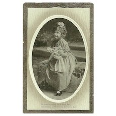 Charming Vintage Poetic Verse Post Card Little Girl with Flowers