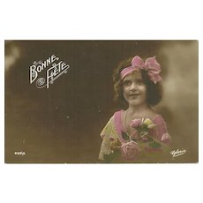 "Charming Vintage Tinted Post Card Postcard Bonne Fete Little Girl with Flowers ""  Gloria """