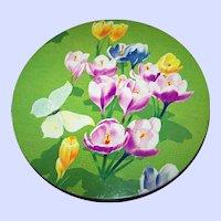 Vintage Crocus Floral Tin Litho Advertising Cookie  Can Peek Frean London England