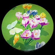 Vintage Crocus Floral Tin Litho Advertising Cookie  Can Peek Frean London England