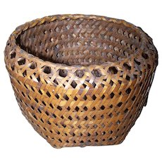 Beautiful Vintage Tightly Woven Wicker Style Basket Oh So Pretty