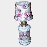 Pretty Novelty Ceramic Chintz Figural Oil Kerosene Lamp JAPAN