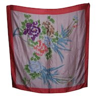 A Rather Large Beautiful Vintage Ladies Fashion Scarf Floral Design 100 % Silk Wearable ART