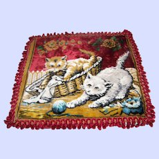 Oh My Vintage Velveteen Tapestry Style Kitty Cat Pillow Cover Case ITALY European Shabby Chic