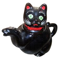 What A Charming Little  Vintage Shafford Black Kitty Cat Tea Pot MEOW
