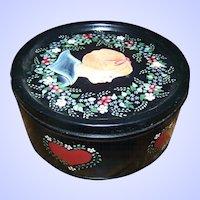 Charming Hand Paint Decorative Vintage Toleware  Portrait Tin Can Floral Child