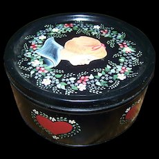 Charming Hand Paint Decorative Vintage Toleware  Portrait Tin Can Floral Child