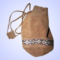 Vintage Suede Pouch Small Bag with  Decorative Band and Draw String
