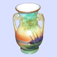 A Small Vintage Hand Painted Nippon Scenic Moriage Vase Decorative Home Decor Accent