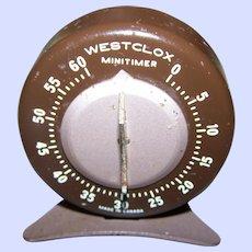 Vintage Metal Mid Century Modern Westclox Minitimer 60 Minute Kitchen Decor Accent