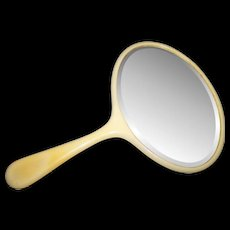 Lovely Vintage Celluloid Beveled Glass Hand Mirror