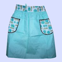 Lovely Vintage Retro Era Aqua Apron For All Your Baking & Cooking Needs Reversible