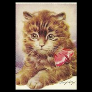 "Charming Vintage Postcard Post Card Kitten Kitty Cat "" Wishing You The Best of Luck ""  Taylor"