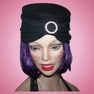 Vintage Glamorous Black Turban  Flapper Girl Style  Ladies Fashion Hat Eaton's Of Canada
