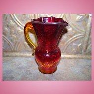 Pretty Vintage Amberina Crackle Glass Pitcher