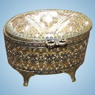 Lovely Vintage Open Work Metal Ware Ormolu Style Jewelry Casket with Beveled Glass Top C. 1950's