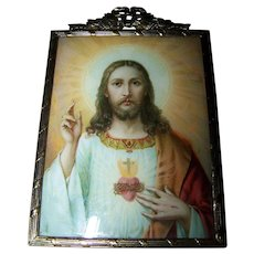 Vintage Decorative Metal Ware  Framed Holy Jesus Print