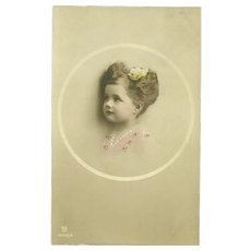 Real Tinted Photograph Post Card Portrait  Of A Sweet Little Girl